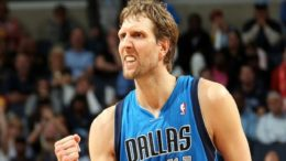 MEMPHIS, TN - APRIL 16: Dirk Nowitzki #41 of the Dallas Mavericks celebrates during a game against the Memphis Grizzlies on April 16, 2014 at FedExForum in Memphis, Tennessee. NOTE TO USER: User expressly acknowledges and agrees that, by downloading and or using this photograph, User is consenting to the terms and conditions of the Getty Images License Agreement. Mandatory Copyright Notice: Copyright 2014 NBAE (Photo by Joe Murphy/NBAE via Getty Images)