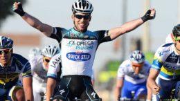 Cycling : Tour of Qatar 2013 / Stage 3  Arrival / Mark CAVENDISH (Gbr) Celebration Joie Vreugde /  Barry MARKUS (Ned)/ Aidis KRUOPIS (Ltu)/  Al Wakra - Mesaieed (143Km)/  Ronde Etape Rit /(c)Tim De Waele