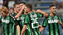 REGGIO NELL'EMILIA, ITALY - AUGUST 04:  Gregoire Defrel of US Sassuolo celebrates after scoring the goal 3-0 during the Third Qualifying Round Europa League between US Sassuolo and FC Luzern at Mapei Stadium - Città  del Tricolore on August 4, 2016 in Reggio nell'Emilia, Italy  (Photo by Giuseppe Bellini/Getty Images)